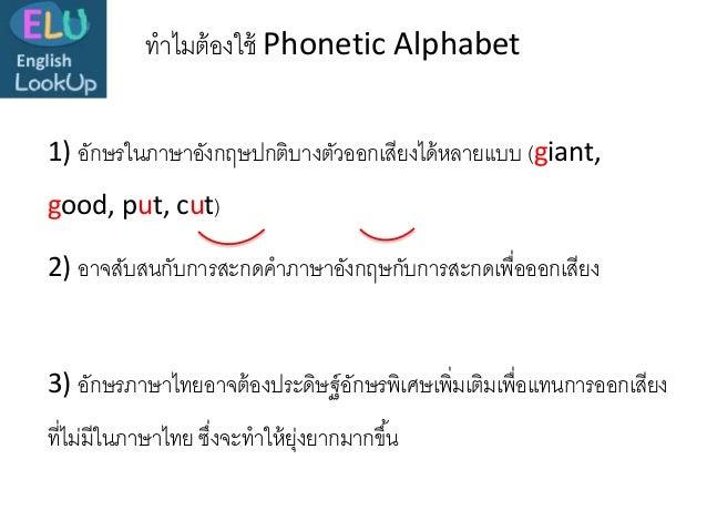 1) อักษรในภาษาอังกฤษปกติบางตัวออกเสียงได้หลายแบบ (giant, good, put, cut) ทาไมต้องใช้ Phonetic Alphabet 2) อาจสับสนกับการสะ...