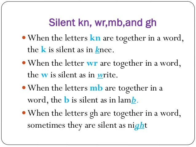 Phonics kn,wr,mb,gh