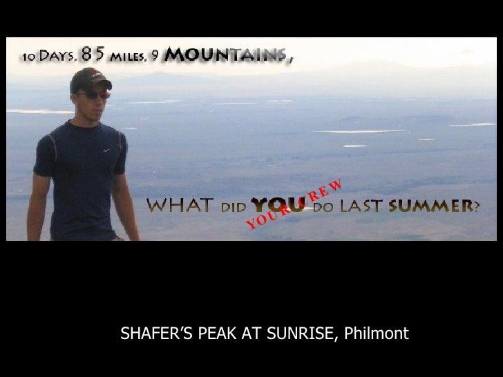Title SHAFER'S PEAK AT SUNRISE, Philmont YOUR CREW