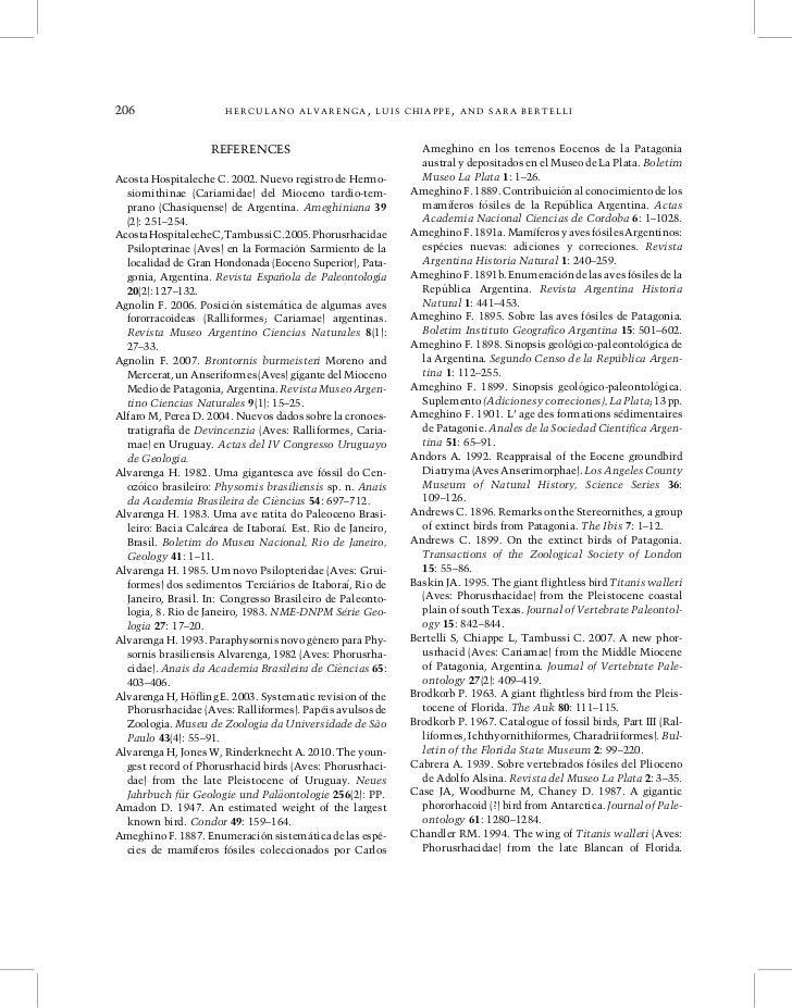 206                    HERCULANO ALVARENGA, LUIS CHIAPPE, AND SARA BERTELLI                    REFERENCES                 ...
