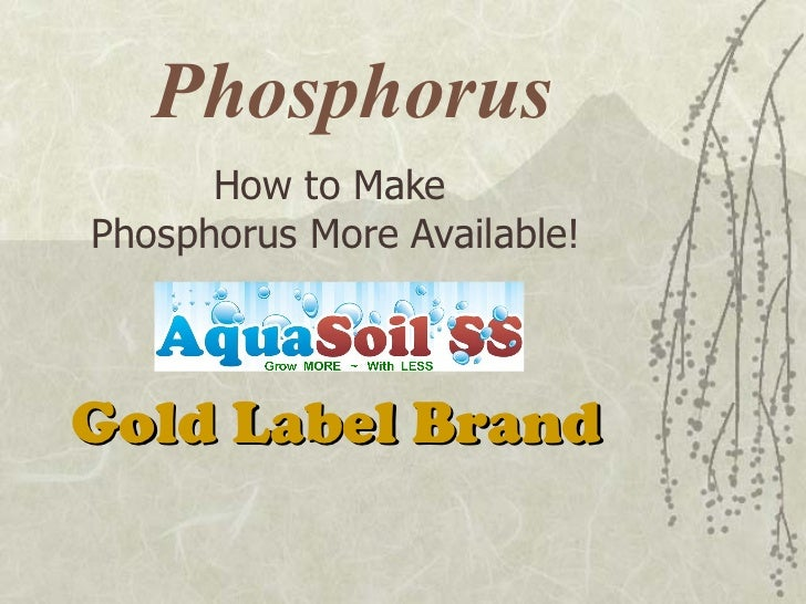 Phosphorus How to Make  Phosphorus More Available! Gold Label Brand