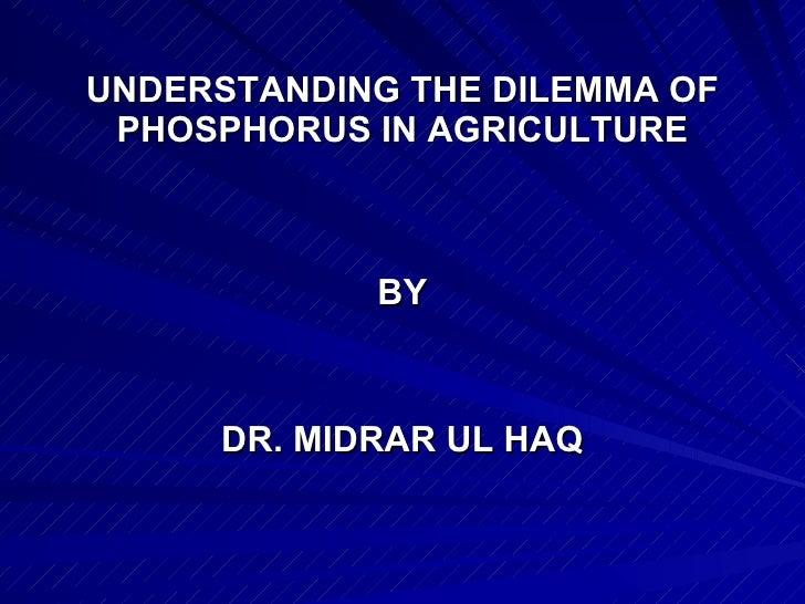 UNDERSTANDING THE DILEMMA OF PHOSPHORUS IN AGRICULTURE <ul><li>BY </li></ul><ul><li>DR. MIDRAR UL HAQ </li></ul>