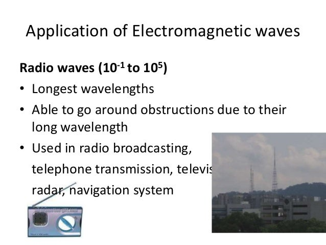 Application of Electromagnetic waves Gamma Rays (10-14 to 10-10) • It can be used to treat cancer by killing cancer cells....