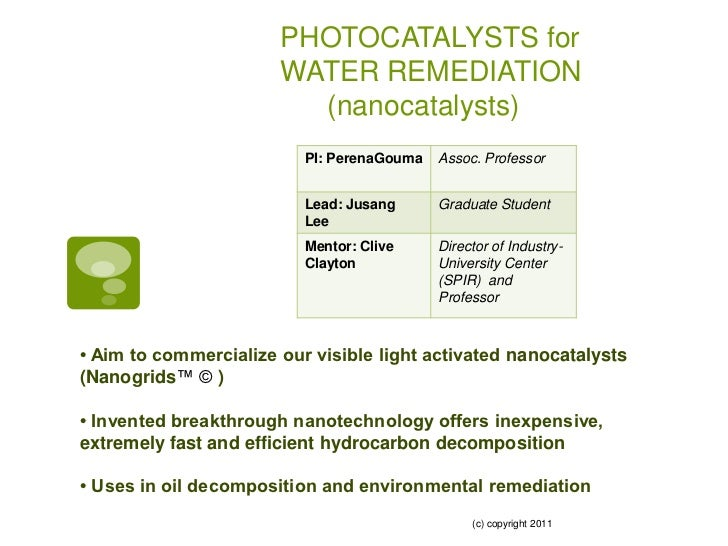 PHOTOCATALYSTS for                       WATER REMEDIATION                         (nanocatalysts)                        ...