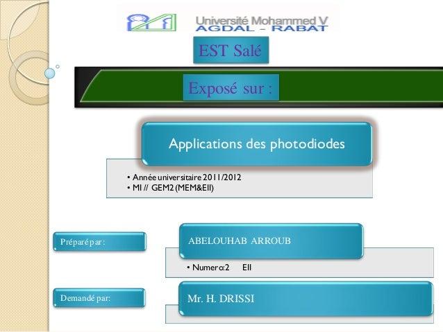EST Salé                                Exposé sur :                           Applications des photodiodes               ...