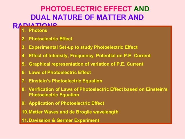 PHOTOELECTRIC EFFECT AND DUAL NATURE OF MATTER AND RADIATIONS1. Photons 2. Photoelectric Effect 3. Experimental Set-up to ...