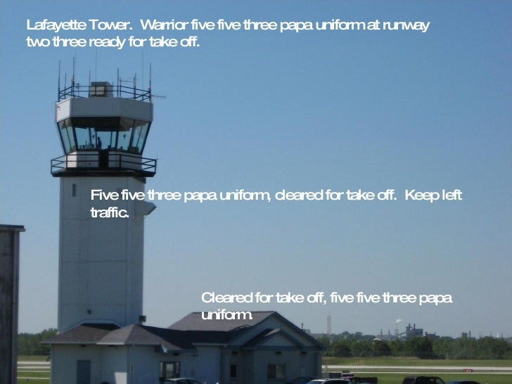 Lafayette Tower.  Warrior five five three papa uniform at runway two three ready for take off. Five five three papa unifor...