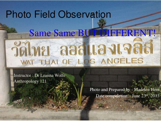 Photo Field ObservationInstructor : Dr Leanna WolfeAnthropology 121Photo and Prepared by - Madelen HemDate compeletion – J...