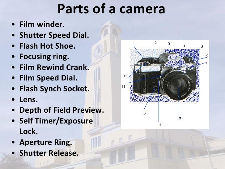 Parts of a camera <ul><li>Film winder.  </li></ul><ul><li>Shutter Speed Dial.  </li></ul><ul><li>Flash Hot Shoe.  </li></u...