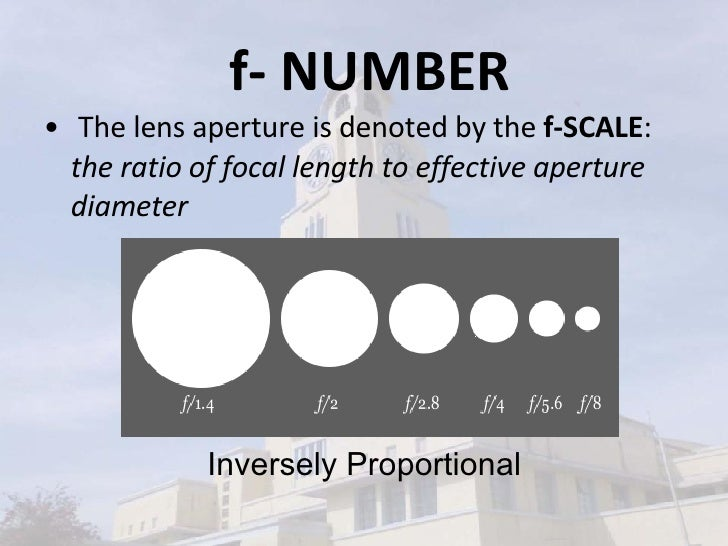 f- NUMBER <ul><li>The lens aperture is denoted by the  f-SCALE :  the ratio of focal length to effective aperture diameter...