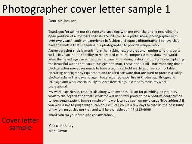 Photographer Cover Letter Sample
