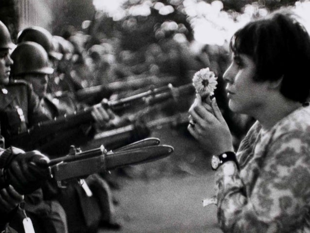 USA. Washington DC. 1967. An American young girl, Jan Rose Kasmir, confronts the American National Guard outside the Penta...
