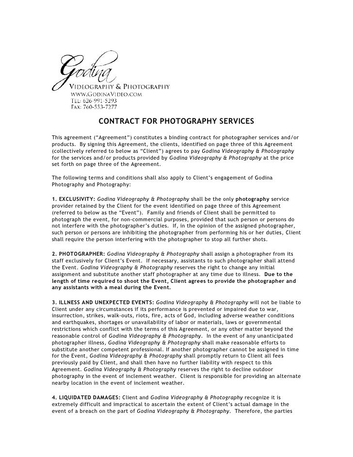 CONTRACT FOR PHOTOGRAPHY SERVICESThis Agreement (u201cAgreementu201d) Constitutes A  Binding Contract For Photographer ...
