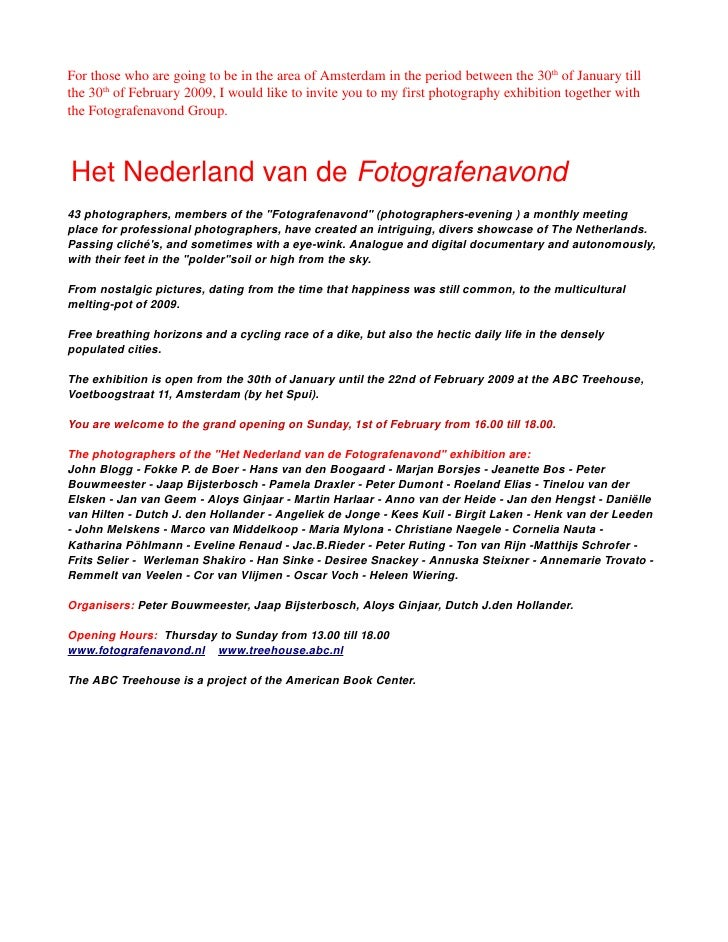 Photography exhibition invitation for those who are going to be in the area of amsterdam in the period between stopboris Gallery