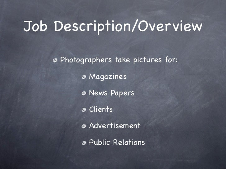 Photography as a career – Photographer Job Description