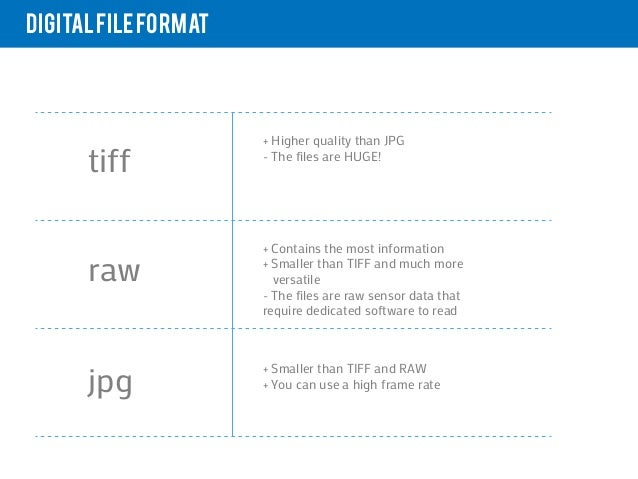Digital file format                      + Higher quality than JPG      tiff            - The files are HUGE!             ...
