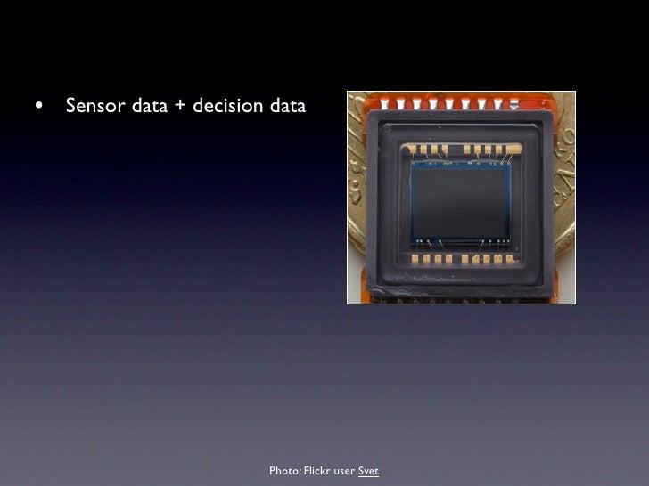 • Sensor data + decision data • No processing in-camera • No compression • Big Files • Every camera needs specific    suppo...