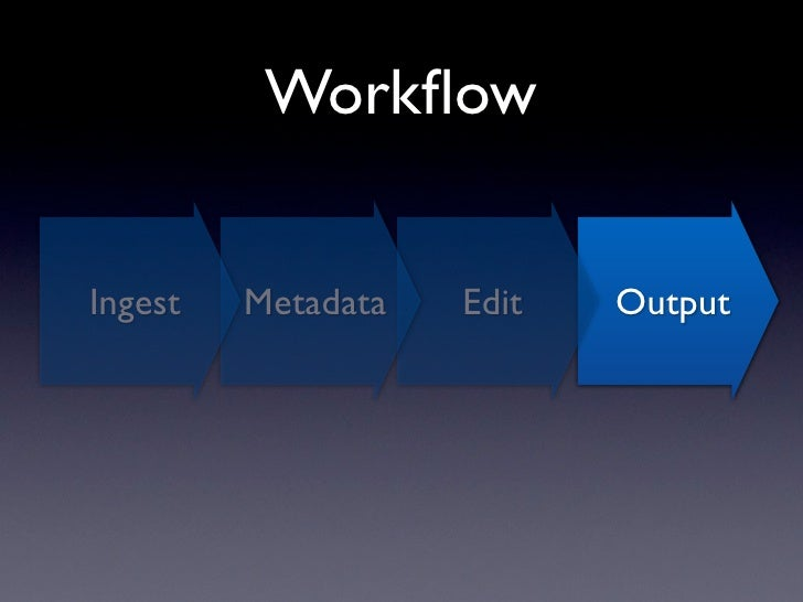 Workflow          •   Version Export to disk           •   Media Browser Output          •   Drag & Drop previews out of Ap...