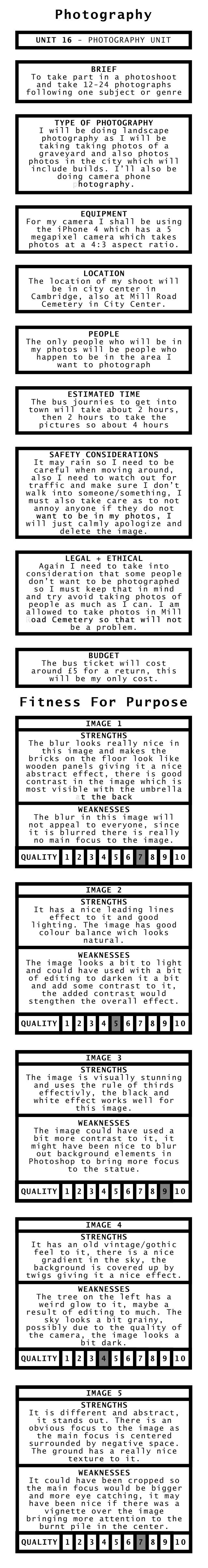 Photography Fitness For Purpose UNIT 16 - PHOTOGRAPHY UNIT BRIEF To take part in a photoshoot and take 12-24 photographs f...