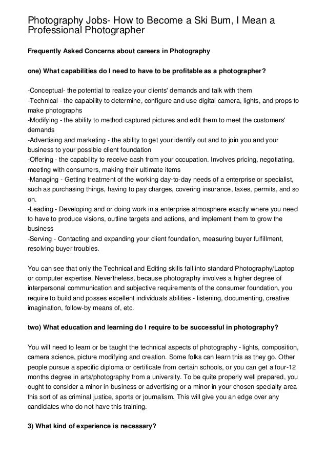 Photography Jobs- How to Become a Ski Bum, I Mean a Professional Phot…