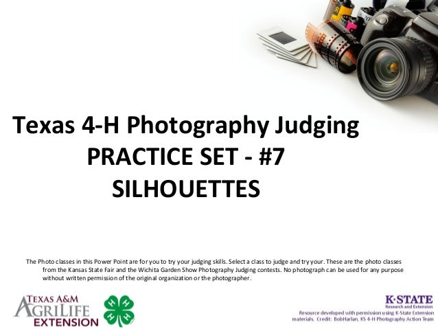 Texas 4-H Photography Judging PRACTICE SET - #7 SILHOUETTES The Photo classes in this Power Point are for you to try your ...