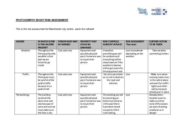 data center risk assessment template - photography shoot risk assessment form