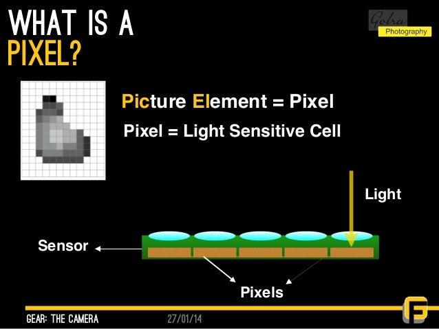 27/01/14 what is a gear: the camera pixel? Picture Element = Pixel Pixel = Light Sensitive Cell Sensor Pixels Light