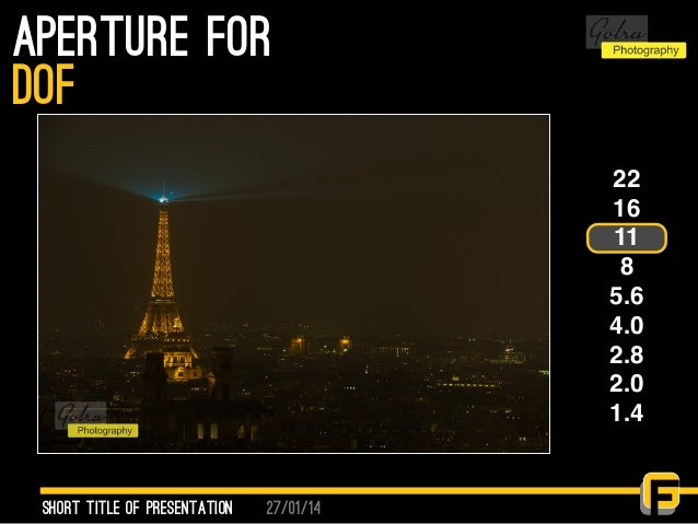 27/01/14 aperture for Short Title of presentation DOF 22 16 11 8 5.6 4.0 2.8 2.0 1.4
