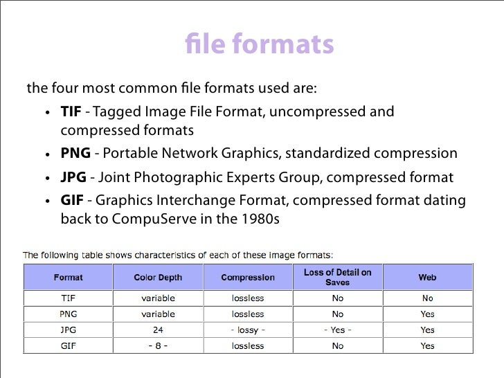 file formatscompression comes in two forms: lossless and lossy  • lossless compression loses none of the image    informati...