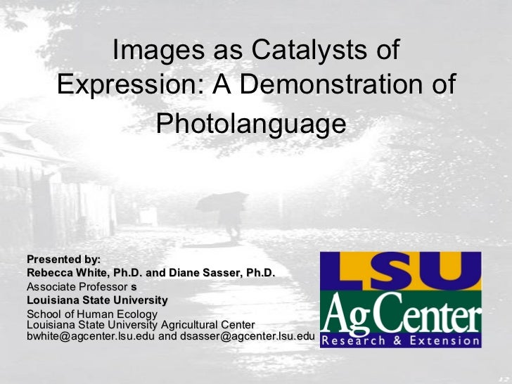 Images as Catalysts of     Expression: A Demonstration of            PhotolanguagePresented by:Rebecca White, Ph.D. and Di...