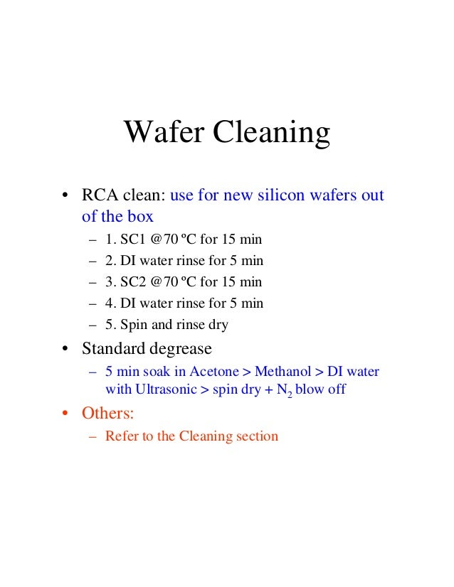 how to clean sio2 wafer
