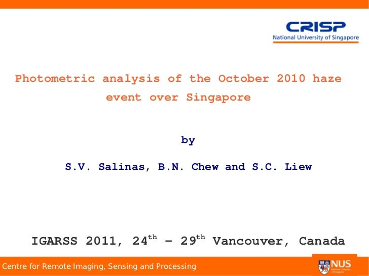 Photometric analysis of the October 2010 haze                          event over Singapore                               ...