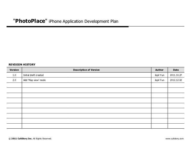 """PhotoPlace"" iPhone Application Development PlanREVISION HISTORY Version                                     Description o..."