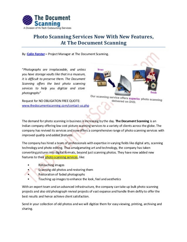 Photo Scanning Services Now With New Features,At The Document ScanningBy: Colin Forster – Project Manager at The Document ...
