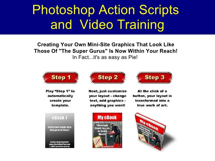 """Photoshop Action Scripts  and  Video Training Creating Your Own Mini-Site Graphics That Look Like Those Of """"The Super..."""