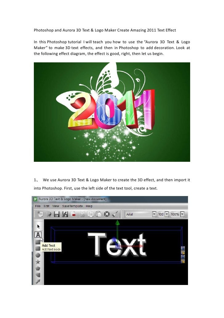 Photoshop And Aurora 3d Text Logo Maker Create Amazing 2011 Text Effect