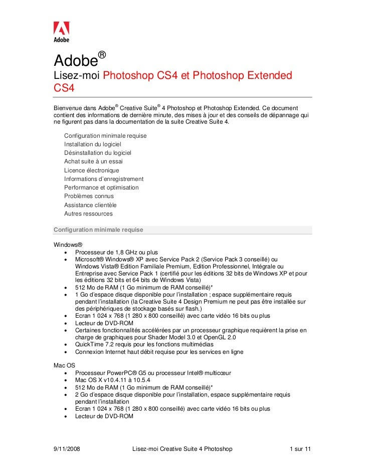Adobe®Lisez-moi Photoshop CS4 et Photoshop ExtendedCS4Bienvenue dans Adobe® Creative Suite® 4 Photoshop et Photoshop Exten...