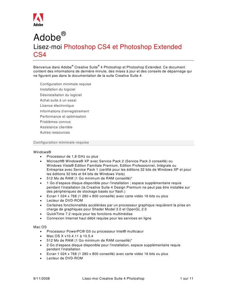Adobe® Lisez-moi Photoshop CS4 et Photoshop Extended CS4 Bienvenue dans Adobe® Creative Suite® 4 Photoshop et Photoshop Ex...