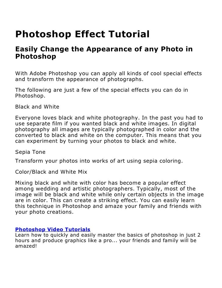 Photoshop Effect TutorialBy David Petershttp://www.learnphotoshopnow.comLearn how to quickly and easily master the basics ...