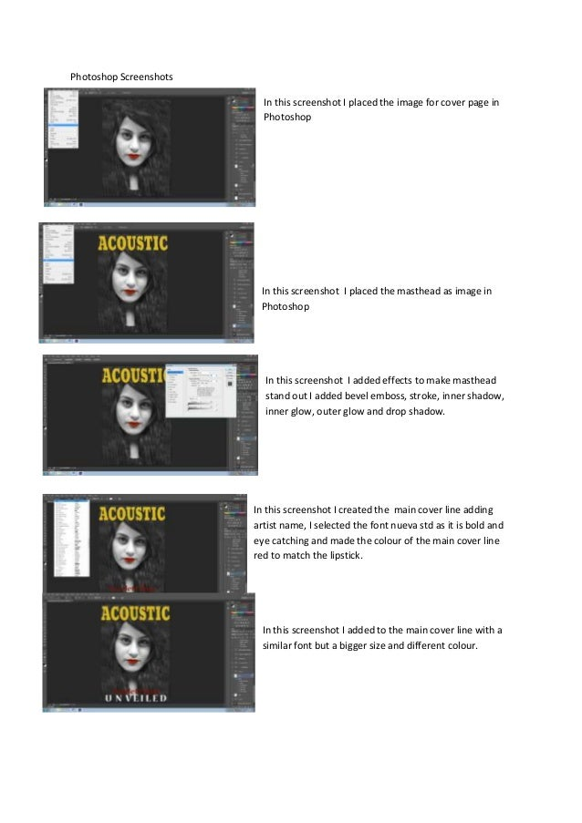 Photoshop Screenshots                          In this screenshot I placed the image for cover page in                    ...