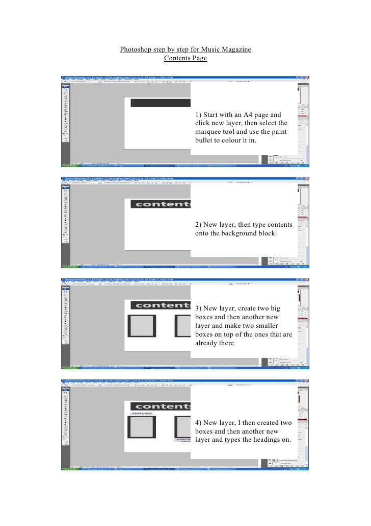 Photoshop step by step for Music Magazine               Contents Page                            1) Start with an A4 page ...