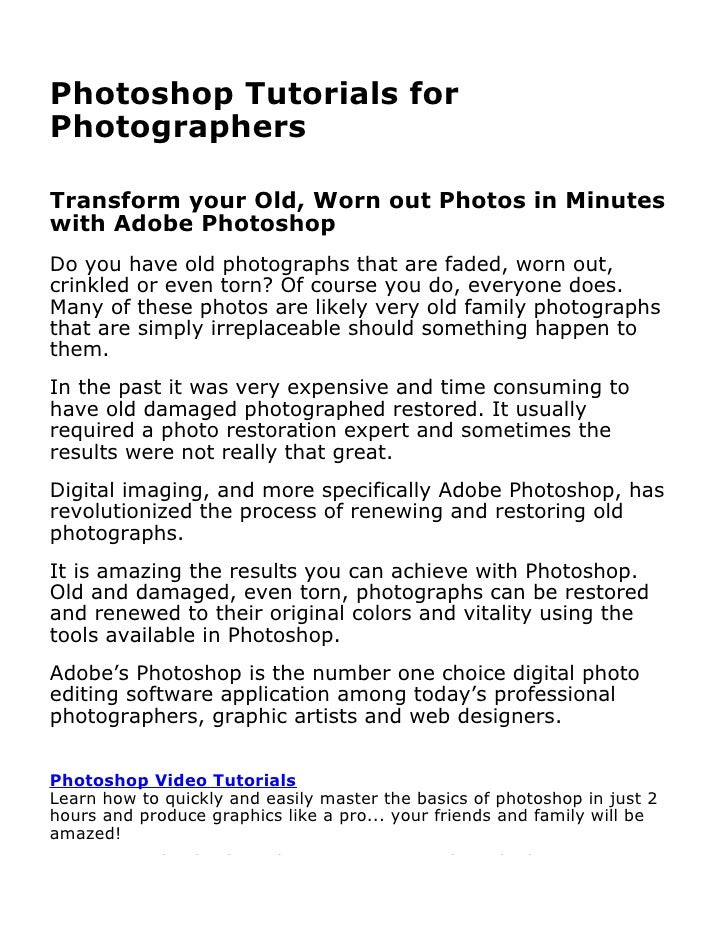 Photoshop Tutorials for PhotographersBy David Petershttp://www.learnphotoshopnow.comLearn how to quickly and easily master...