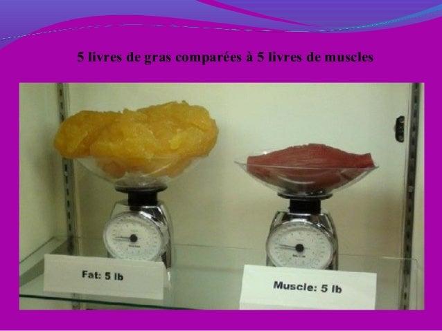 5 livres de gras comparées à 5 livres de muscles