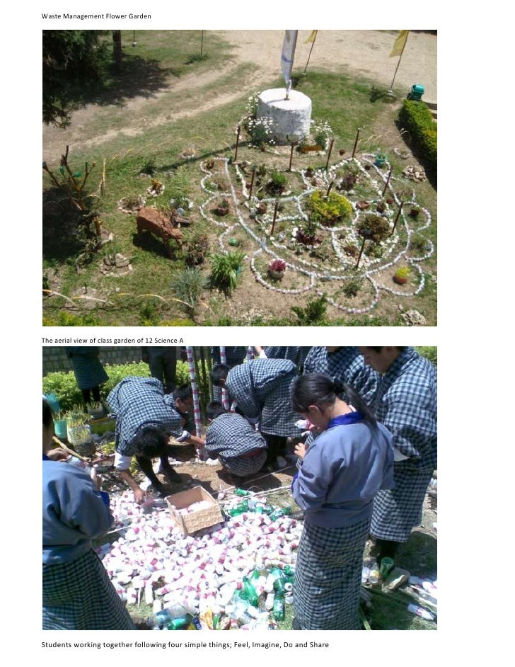 Waste Management Flower Garden<br />The aerial view of class garden of 12 Science A<br />Students working together followi...