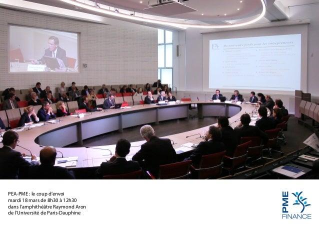 PEA-PME : le coup d'envoi mardi 18 mars de 8h30 à 12h30 dans l'amphithéâtre Raymond Aron de l'Université de Paris-Dauphine