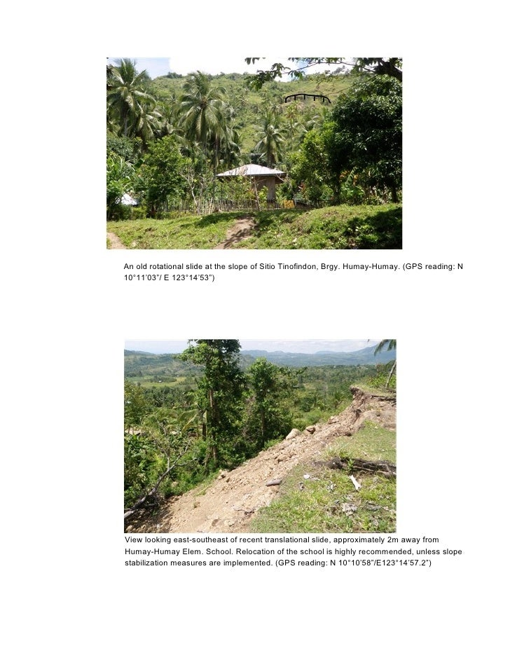 """An old rotational slide at the slope of Sitio Tinofindon, Brgy. Humay-Humay. (GPS reading: N10°11'03""""/ E 123°14'53"""")View l..."""
