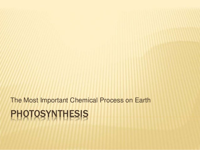 PHOTOSYNTHESIS The Most Important Chemical Process on Earth