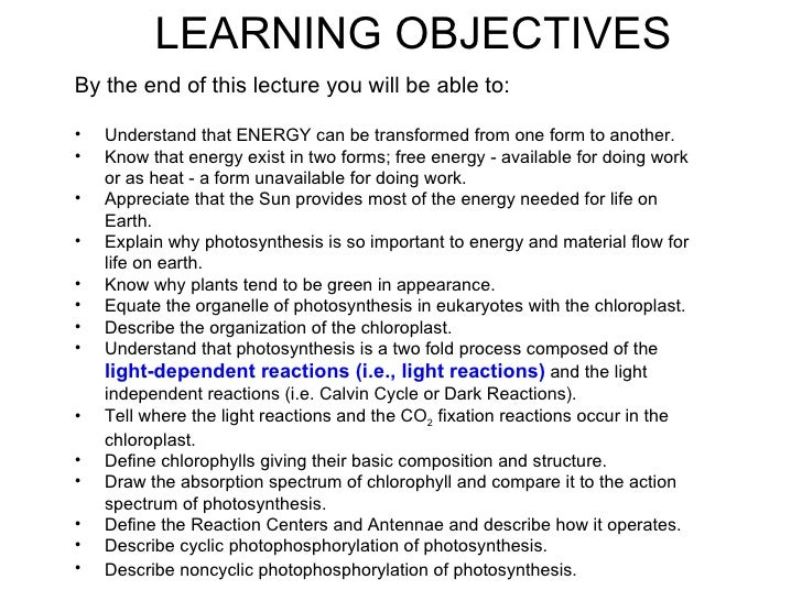 LEARNING OBJECTIVESBy the end of this lecture you will be able to:•   Understand that ENERGY can be transformed from one f...