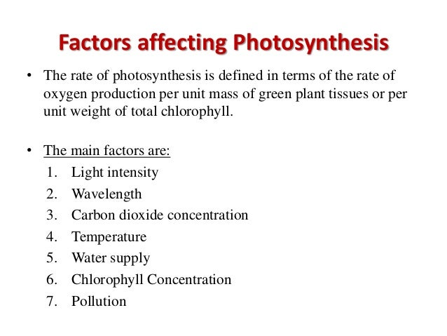 photosythesis rate Factors affecting the rate of photosynthesis the main factors are light intensity, carbon dioxide concentration and temperature, known as limiting factors.