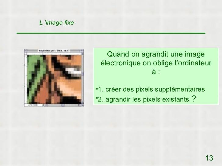 L 'image fixe                   Quand on agrandit une image                 électronique on oblige l'ordinateur           ...